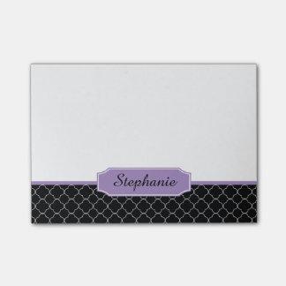 Zwart en Paars Monogram Quatrefoil Post-it® Notes