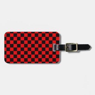 Zwart en Rood Geruit Patroon Kofferlabel