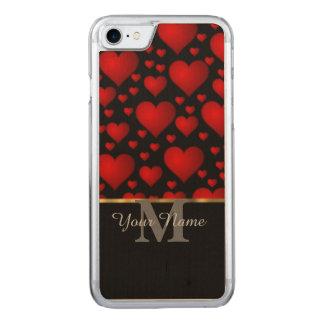 Zwart en rood het hartpatroon van de Carved iPhone 8/7 hoesje