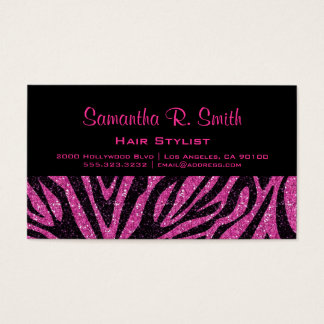 Zwart en Roze Gestreept Professioneel Visitekaartjes
