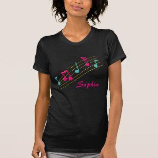 Zwart en roze muzieknoten t shirt