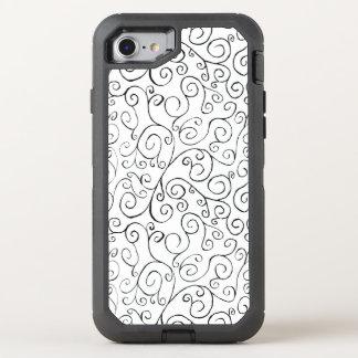 Zwart Geschilderd Patroon Curvy op Wit OtterBox Defender iPhone 8/7 Hoesje