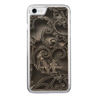 Zwart gotisch patroonmonogram Carved iPhone 8/7 hoesje