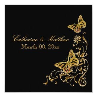 Zwart gouden de vlinderthema van het 13,3x13,3 vierkante uitnodiging kaart