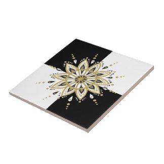 Zwart gouden & wit mandala geometrisch ontwerp tegeltje