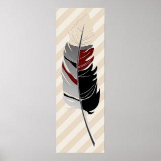 Zwart, Grijs, Kastanjebruine veer/Strepen - & Room Poster