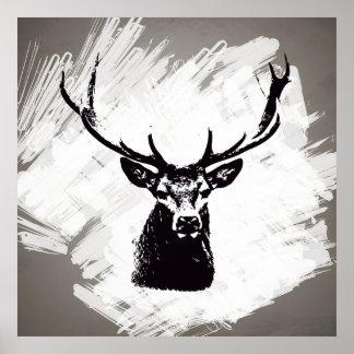 Zwart hertenhoofd op wit | Poster