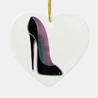Zwart het hartornament van de stilettoschoen keramisch hart ornament