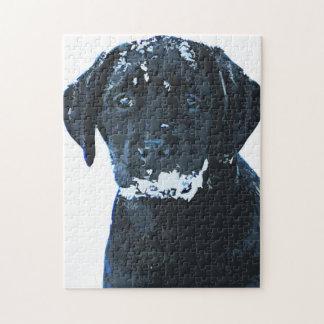 Zwart Labrador - de Kristallen van de Sneeuw Legpuzzel