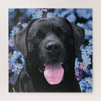 Zwart Labrador - vergeet me niet Puzzel