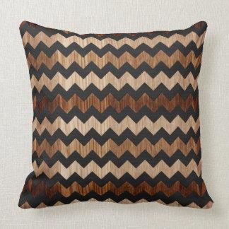 Zwart Leer en het Houten Patroon van de Zigzag Kussen