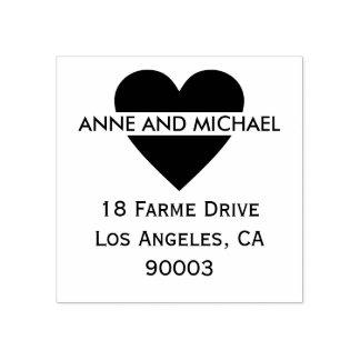 zwart liefdehart met paarnamen en adres rubberstempel