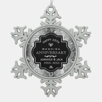 Zwart Lijst & het Zilveren Jubileum van het Damast Tin Sneeuwvlok Ornament