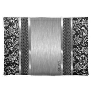 Zwart & Metaal Zilveren Geborsteld Staal en Damast Placemat
