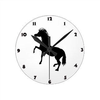 Zwart Paard Ronde Klok