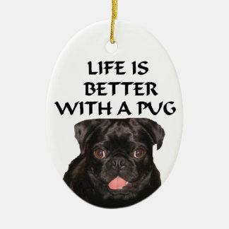 zwart pug ornament