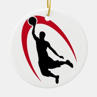 Zwart Rood Gepersonaliseerd Basketbal Rond Keramisch Ornament
