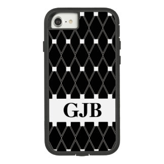 Zwart Rooster Argyle met monogram Case-Mate Tough Extreme iPhone 8/7 Hoesje