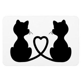 Zwart Silhouet van Twee Katten in Liefde Magneet