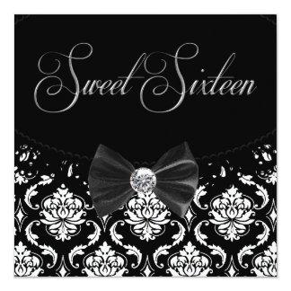 Zwart Snoepje Zestien de Partij van de Verjaardag 13,3x13,3 Vierkante Uitnodiging Kaart