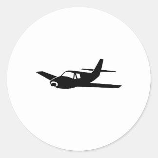 Zwart Vliegtuig Ronde Stickers