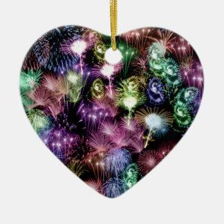 Zwart Vuurwerk Keramisch Hart Ornament
