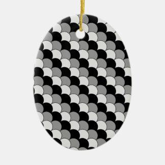 Zwart-wit bijkomend ontwerp keramisch ovaal ornament