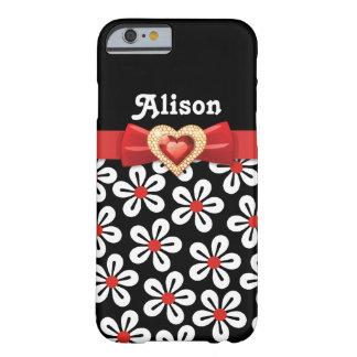 Zwart wit bloemenpatroon met rood boog en juweel barely there iPhone 6 hoesje