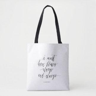 Zwart-wit bolsa met citaat draagtas