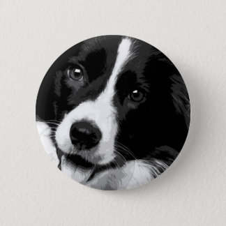 Zwart-wit Border collie Ronde Button 5,7 Cm