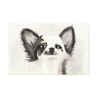 Zwart-wit chihuahuapuppy van de waterverf canvas afdrukken