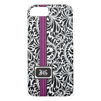 Zwart wit damast en paarse band met initialen iPhone 7 hoesje