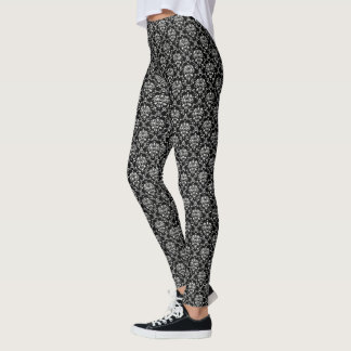 Zwart-wit Damast Leggings