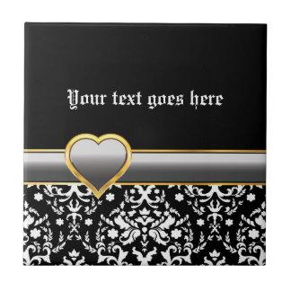 Zwart wit damast met zilveren grijs band en hart keramisch tegeltje