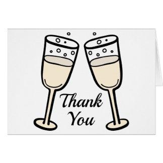 Zwart-wit dank u Champagne BlushWedding Notitiekaart