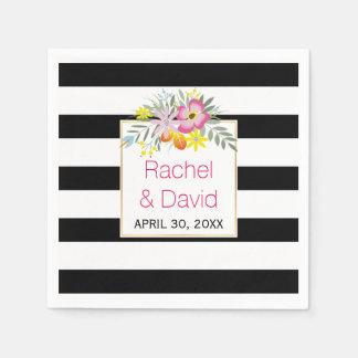 Zwart, wit de bloemenhuwelijk van de strepen roze wegwerp servetten