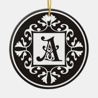 Zwart-wit Decoratief Monogram Rond Keramisch Ornament