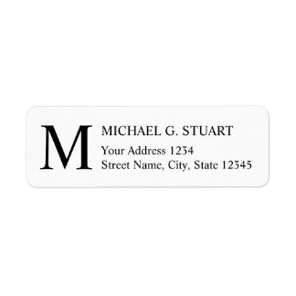 Zwart-wit Elegant Monogram Etiket