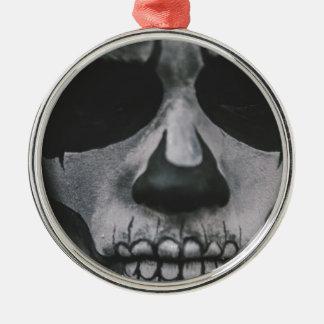 Zwart & Wit Eng Gezicht… Zilverkleurig Rond Ornament