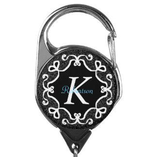 Zwart-wit geometrisch vormmonogram badgehouders