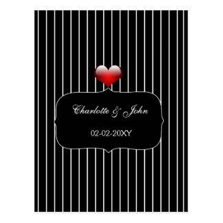 Zwart-wit Gestreept Huwelijk Briefkaart