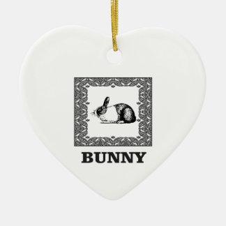 zwart-wit konijntje keramisch hart ornament