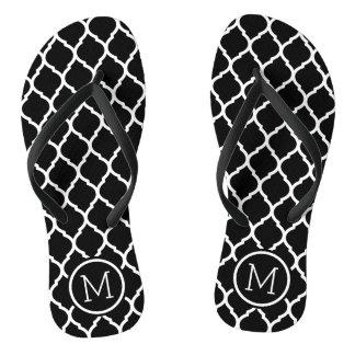 Zwart-wit Marokkaans Monogram Quatrefoil Teenslippers