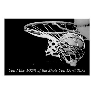 Zwart Wit Motivatie Basketbal Poster