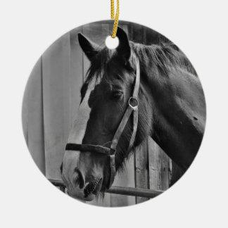 Zwart Wit Paard - het Dierlijke Art. van de Rond Keramisch Ornament