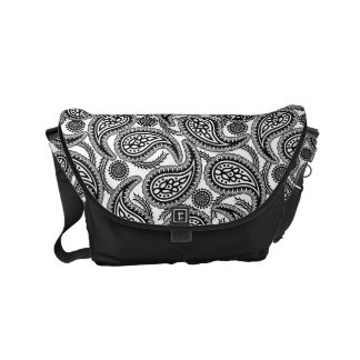 Zwart-wit Paisley Courier Bag