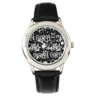 Zwart-wit patroon Graffiti Horloges