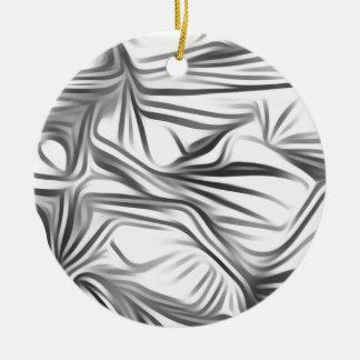 Zwart Wit Print Black White Print Plant Rond Keramisch Ornament