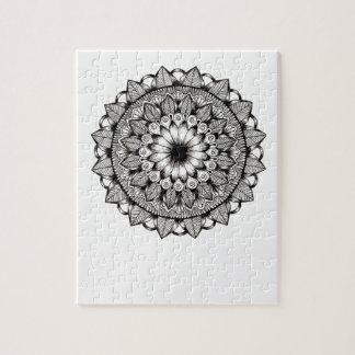 Zwart-wit Punt Mandala Legpuzzel