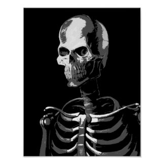 Zwart-wit skelet poster